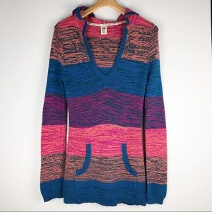 Roxy Hooded Long Sweater Multi Colored Size Medium